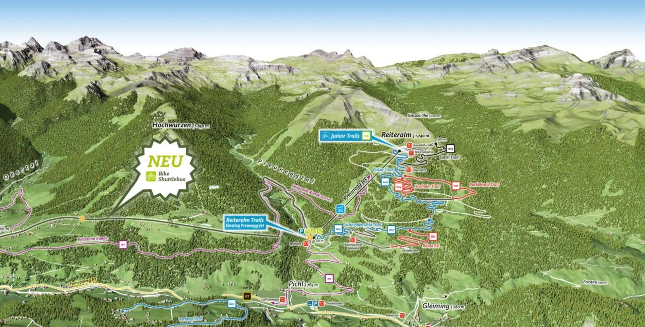 Bike School Pekoll Trailmap Reiteralm Trails